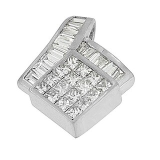 14k White Gold 2 1/10ct TDW Princess and Baguette-cut Geometric Designed Diamond Pendant Necklace (G-H,VS1-VS2)