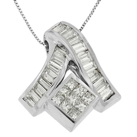 14k White Gold 1 7/8ct TDW Princess and Baguette-cut Mixed Geometry Diamond Pendant Necklace (G-H, SI1-SI2)