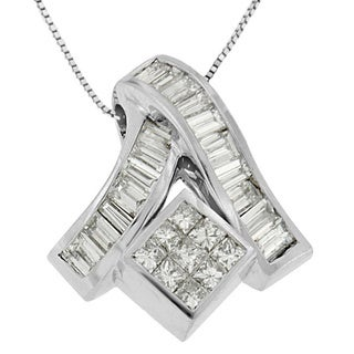 14k White Gold 1 7/8ct TDW Princess and Baguette-cut Mixed Geometry Diamond Pendant (G-H, SI1-SI2)
