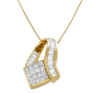 14k Yellow Gold 2.01ct TDW Princess and Baguette-cut Diamond Vintage Pendant Necklace (I-J, I2-I3)