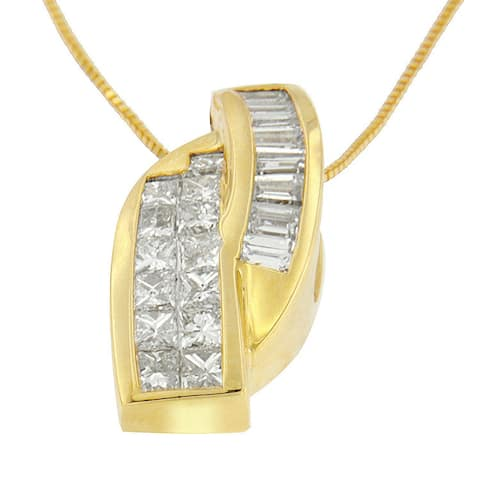 14k Yellow Gold 1 1/3ct TDW Princess and Baguette-cut Diamond Double Curved Pendant Necklace (H-I,VS1-VS2)