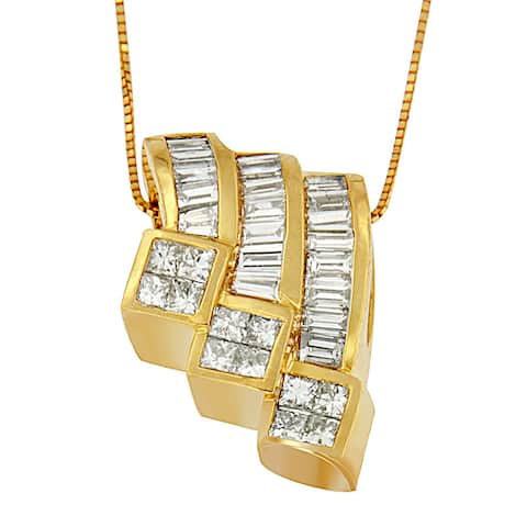 14k Yellow Gold 1 1/2ct TDW Princess and Baguette-cut Diamond Triple Curved Pendant Necklace (G-H, SI1-SI2)