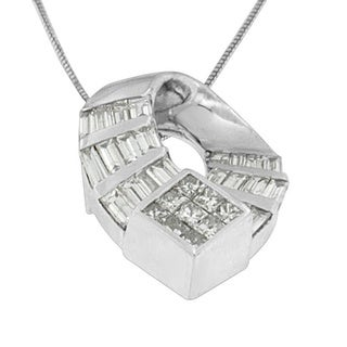 14k White Gold 1 5/8ct TDW Princess and Baguette-cut Diamond Curved Oval Pendant (G-H, SI1-SI2)