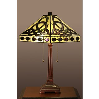 Claire 2-light Yellow Tiffany-style 16-inch Table Lamp