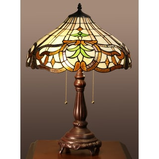 Isaiah 2-light Green Leaf Tiffany-style 16-inch Table Lamp