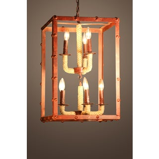 Rivka 8-light Rectangular Rusty Steel 16-inch Chandelier