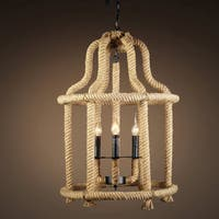Davon 3-light Hemp Rope 19-inch Chandelier with Bulbs