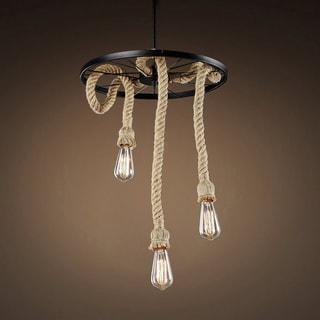 Tamia 3-light Hemp Rope 18-inch Edison Chandelier with Bulbs