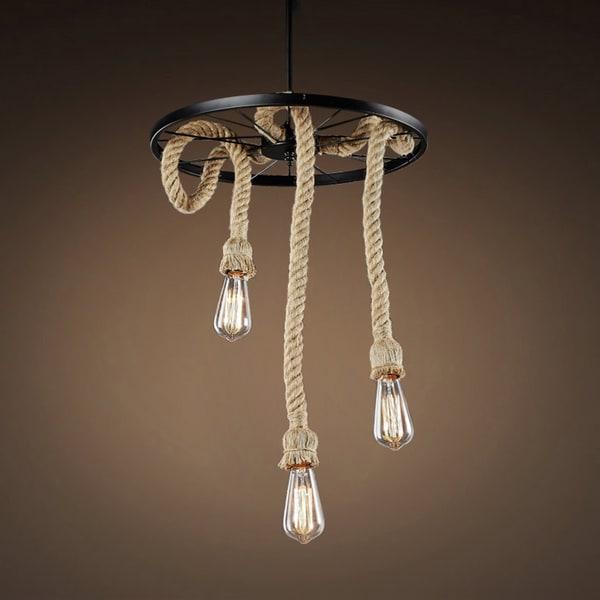 Tamia 3 Light Hemp Rope 18 Inch Edison Chandelier With Bulbs