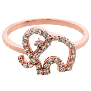 Eternally Haute Rose Goldplated Sterling Silver Pave Cubic Zirconia Elephant Ring