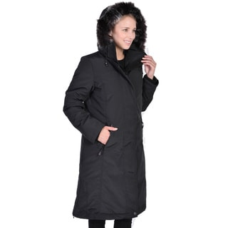 Women's Down Long Coat with Detachable Faux Fur Hood