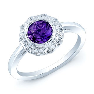 14k White Gold Amethyst and Diamond Accent Ring (H-I, VS1- VS2) (Size 7)