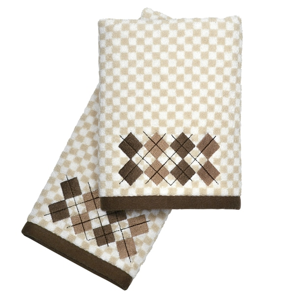 Peri Home Towels: Peri Home Embroidered Argyle 2-piece Fingertip Towel Set