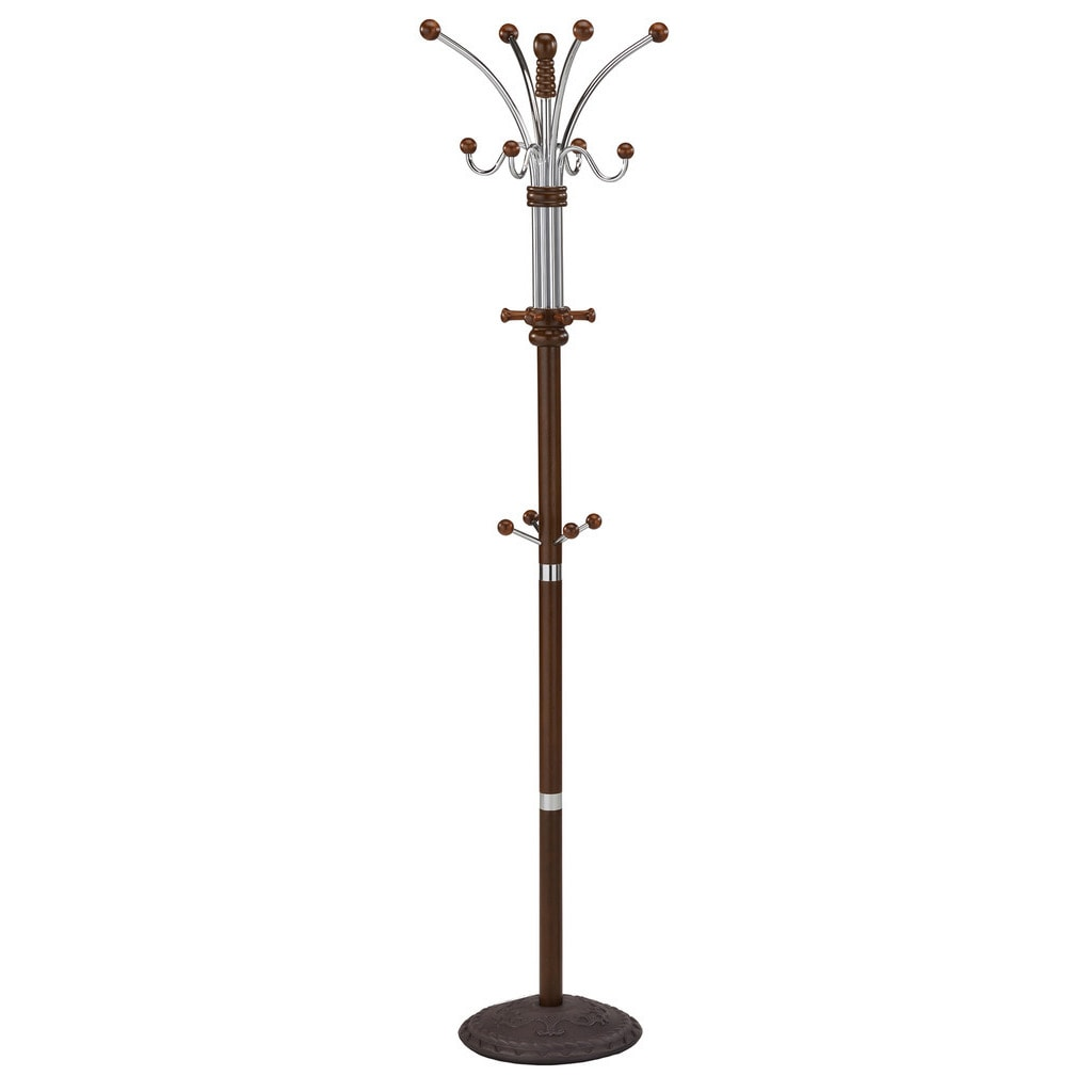 Worldwide Caledon Multiple Hook Metal/Wood Coat Rack-Waln...