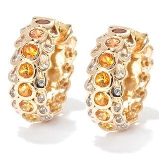 14k Yellow Gold 1 1/3 TGW Shaded Sapphire and Zircon Hoop Earrings