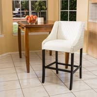Christopher Knight Home Milano Ivory Quilted Bonded Leather Barstool in White (As Is Item)