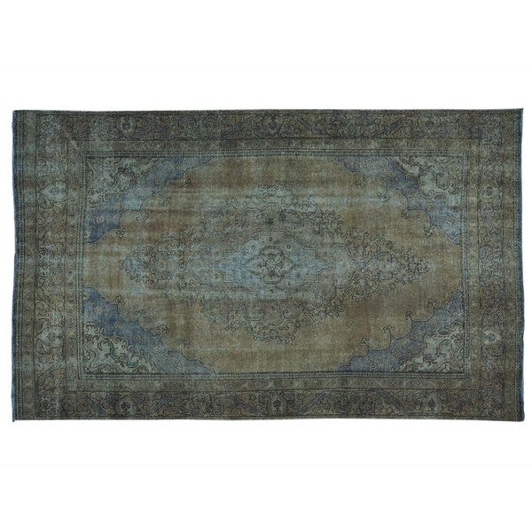 Shop Handmade Overdyed Persian Tabriz Worn Down Pure Wool