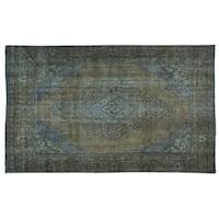 Handmade Overdyed Persian Tabriz Worn Down Pure Wool Area Rug (6' x 9'8)