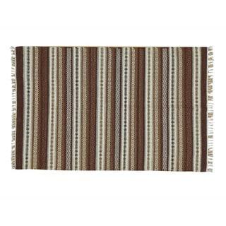 Handmade Durie Killim Flat Weave Pure Wool Striped Area Rug (4' x 6')