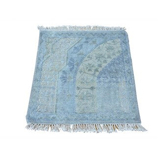 Handmade Square Modern Oxidized Wool and Silk Area Rug (2' x 2'2)