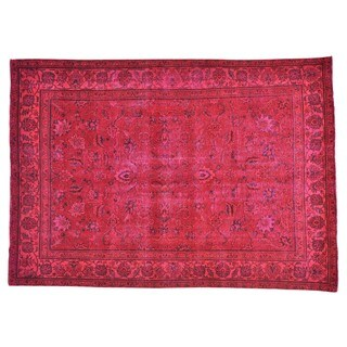 Handmade Red Overdyed Tabriz Worn Down Pure Wool Area Rug (7'4 x 10'3)