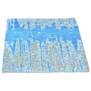 Hand-knotted Square Wool and Rayon from Bamboo Silk Broken Design Area Rug (2' x 2')