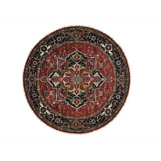 Hand-knotted Round Serapi Heriz Pure Wool Oriental Area Rug (9'9 x 9'9)
