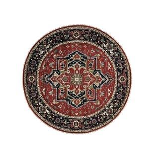 Handmade Wool Round Serapi Heriz Oriental Area Rug (9'9 x 9'9)