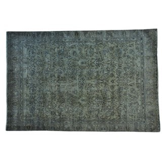 Handmade Overdyed Persian Tabriz Worn Down Pure Wool Area Rug (7'1 x 10'8)