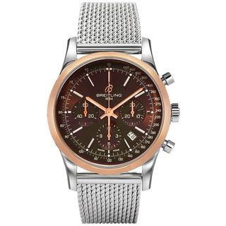 Breitling Men's UB015212-Q594 'Transocean' Chronograph Automatic 18kt Rose Gold Stainless Steel Watc