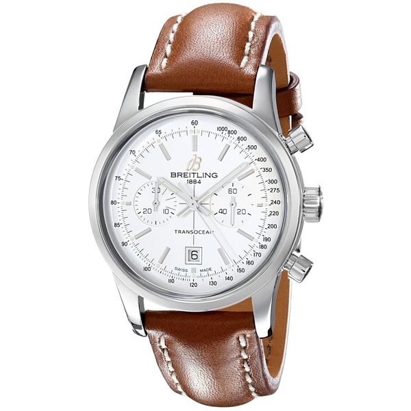 Breitling Men's A4131012-G757LS 'Transocean 38' Automatic Chronograph Brown Leather Watch. Opens flyout.