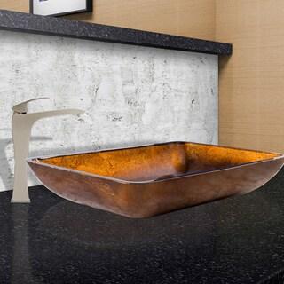 VIGO Russet Glass Vessel Sink and Blackstonian Faucet in Brushed Nickel