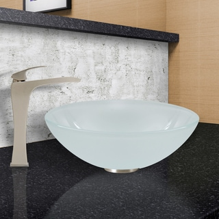 VIGO White Frost Vessel Sink and Blackstonian Faucet in Brushed Nickel