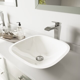 VIGO White Phoenix Stone Vessel Sink and Blackstonian Faucet in Brushed Nickel