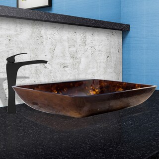 VIGO Rectangular Brown and Gold Fusion Glass Vessel Sink and Blackstonian Faucet Set in a Matte Black Finish
