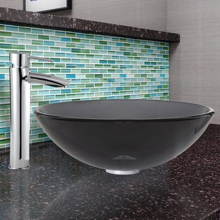 VIGO Sheer Black Glass Vessel Sink and Shadow Faucet in Chrome