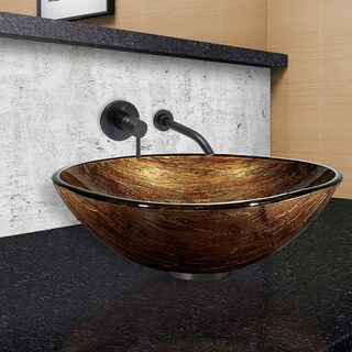 VIGO Amber Sunset Glass Vessel Sink and Olus Wall Mount Faucet Set in Antique Rubbed Bronze Finish