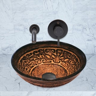 VIGO Golden Greek Vessel Sink and Olus Faucet in Antique Rubbed Bronze