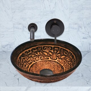 VIGO Golden Greek Glass Vessel Sink and Olus Wall Mount Faucet Set in Antique Rubbed Bronze Finish