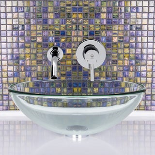 VIGO Crystalline Glass Vessel Sink and Olus Faucet Set in Chrome