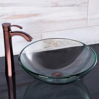 VIGO Crystalline Glass Vessel Sink and Otis Vessel Faucet Set in a Oil Rubbed Bronze Finish