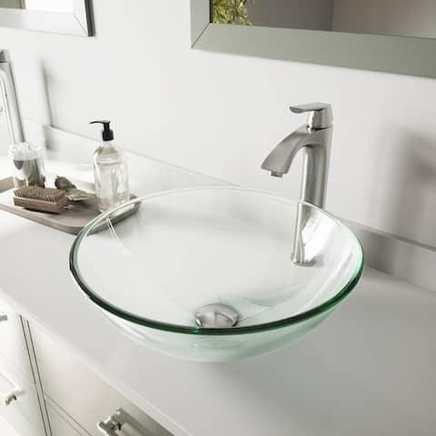 VIGO Crystalline Glass Vessel Bathroom Sink and Linus Vessel Faucet