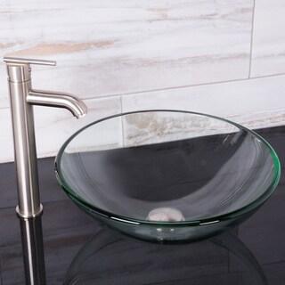VIGO Crystalline Vessel Sink and Seville Faucet Set in Brushed Nickel