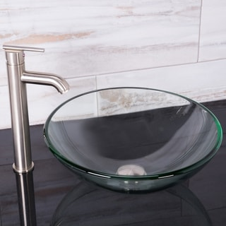 VIGO Crystalline Glass Vessel Sink and Seville Vessel Faucet Set in a Brushed Nickel Finish