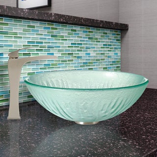 VIGO Icicles Glass Vessel Sink and Blackstonian Faucet Set in Brushed Nickel Finish