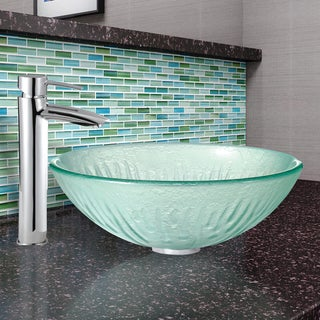 VIGO Icicles Glass Vessel Sink and Shadow Faucet in Chrome