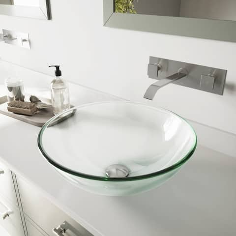 VIGO Crystalline Glass Vessel Sink and Titus Wall Mount Faucet Set