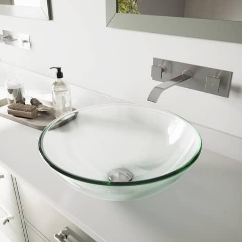 VIGO Crystalline Glass Vessel Sink and Titus Wall Mount Faucet Set