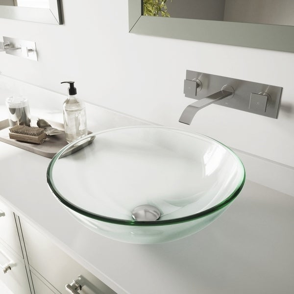 VIGO Crystalline Glass Vessel Sink and Titus Wall Mount Faucet Set. Opens flyout.