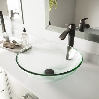 VIGO Crystalline Glass Vessel Bathroom Sink Set with Linus Faucet
